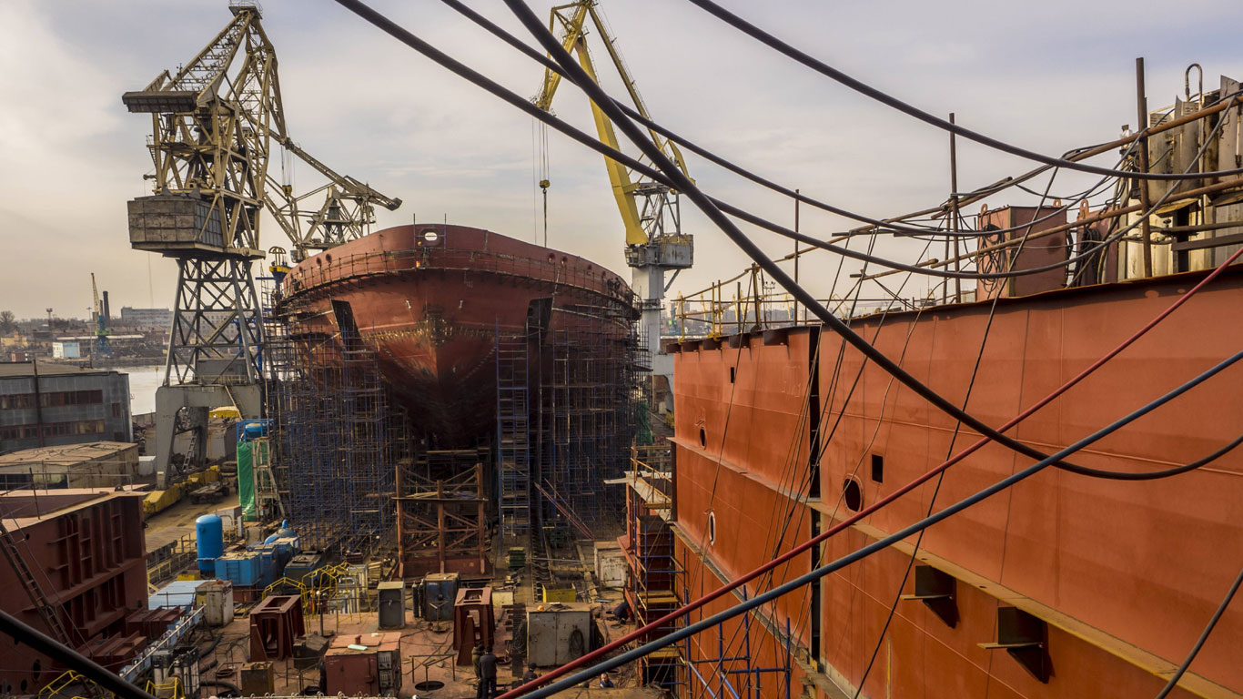 Schiffbau und Reparatur in der Werft