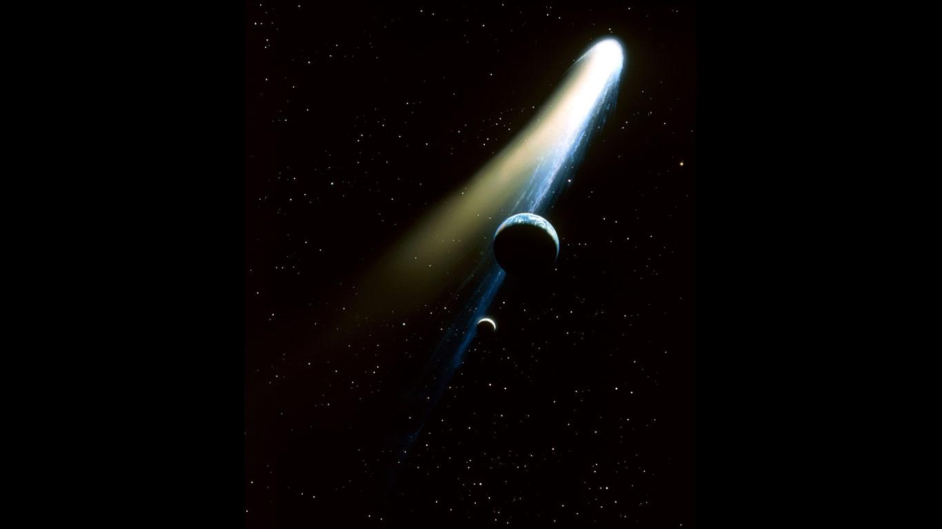 Halleyscher Komet: Klappe, die erste